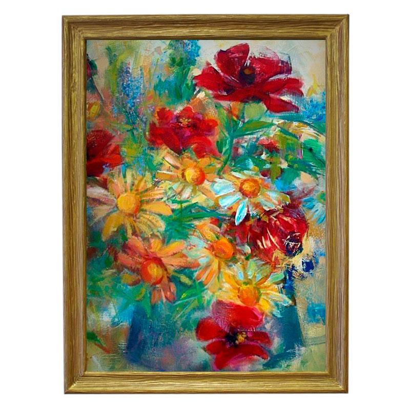 Картина обогреватель «Цветы» в рамке ПВХ 70X90 см. (0.5 кВт.)