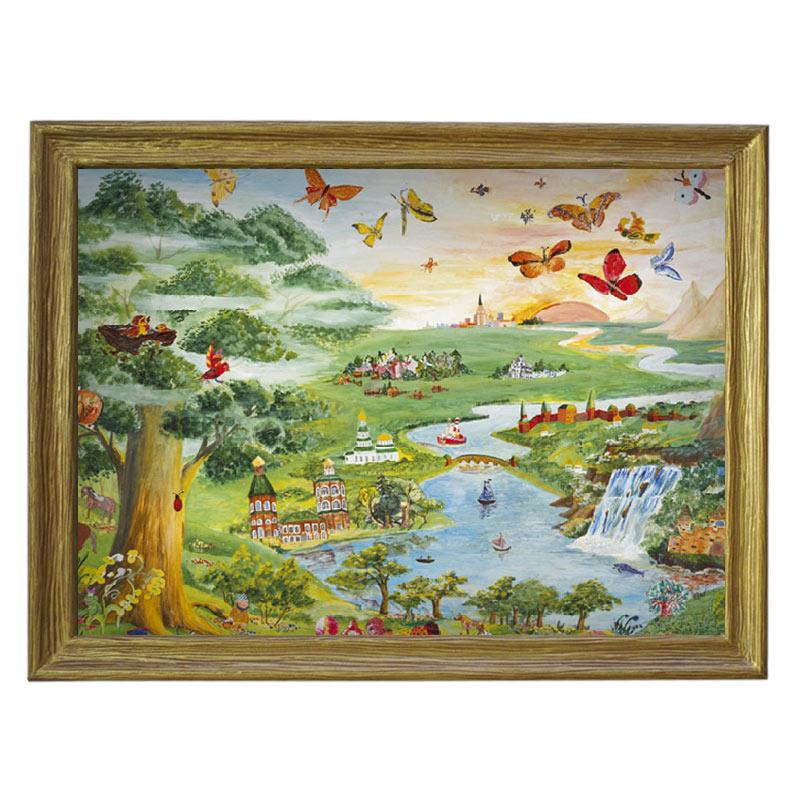 Картина обогреватель «Детям» в рамке ПВХ 70X90 см. (0.5 кВт.)