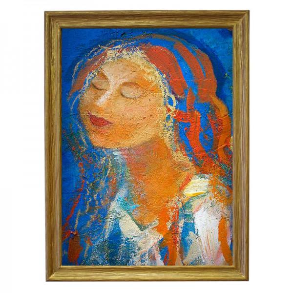 Картина обогреватель «Девушка» в рамке ПВХ 70X90 см. (0.5 кВт.)