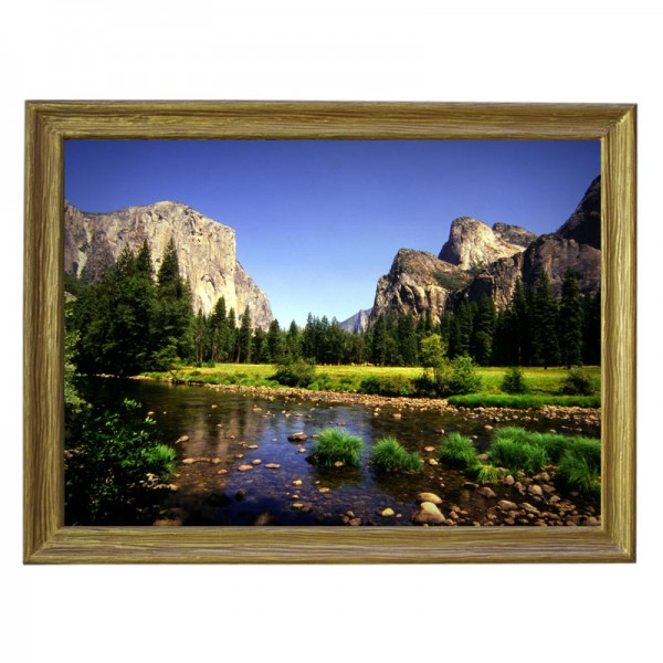 Картина обогреватель «Горный ручей» в рамке ПВХ 70X90 см. (0.5 кВт.)