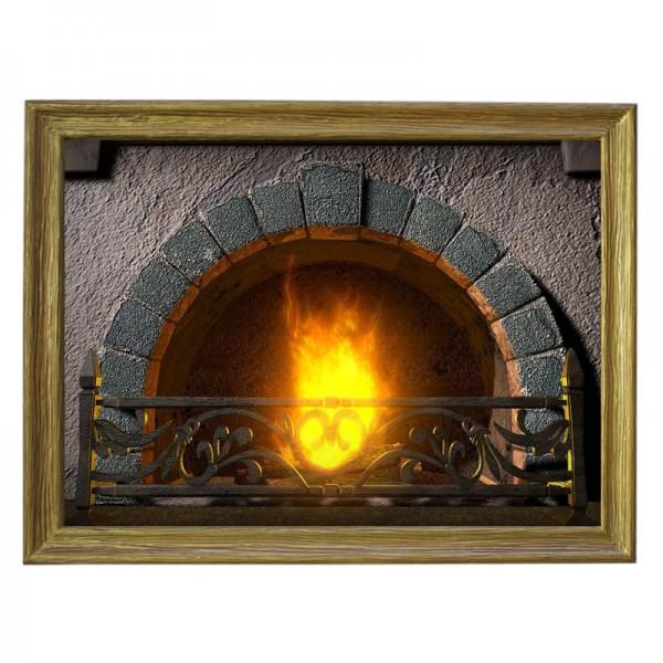 Картина обогреватель «Горящий камин» в рамке ПВХ 70X90 см. (0.5 кВт.)