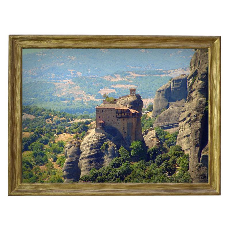 Картина обогреватель «Греция. Метеоры 1» в рамке ПВХ 70X90 см. (0.5 кВт.)