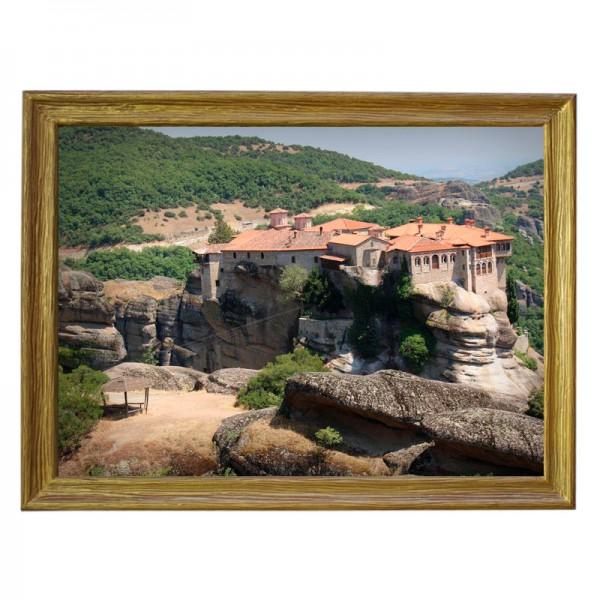 Картина обогреватель «Греция. Метеоры 3» в рамке ПВХ 70X90 см. (0.5 кВт.)