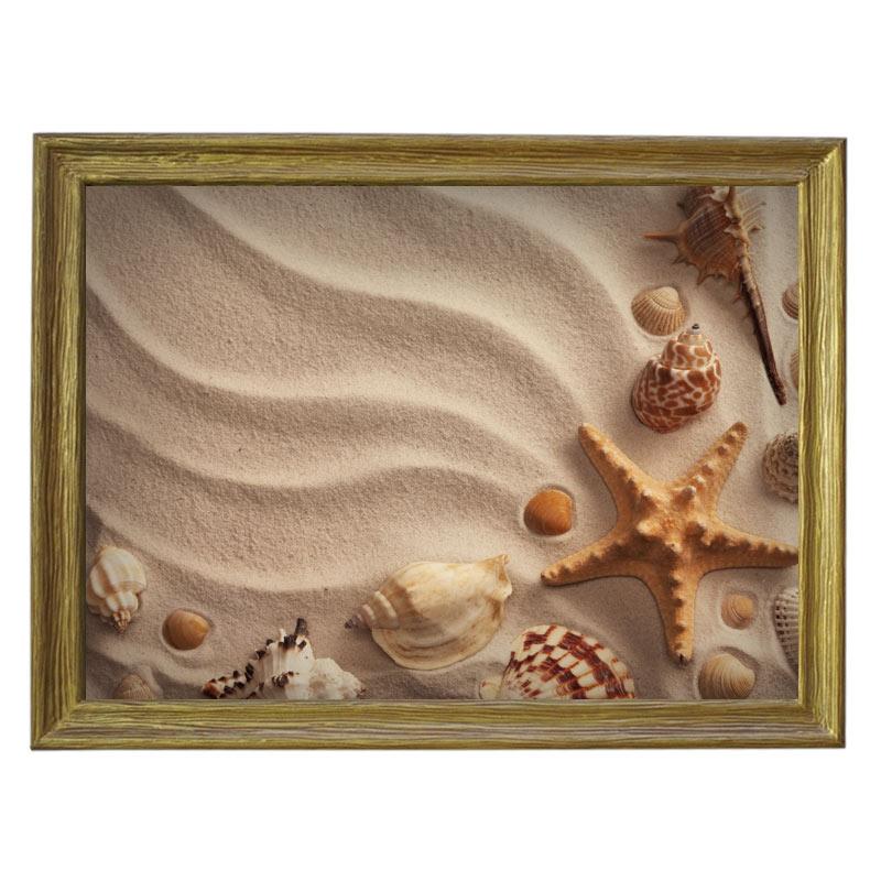 Картина обогреватель «На песке» в рамке ПВХ 70X90 см. (0.5 кВт.)